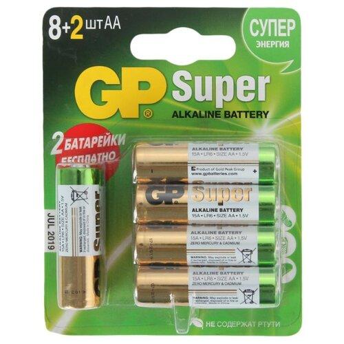 Фото - Батарейка GP Super Alkaline AA 10 шт блистер батарейки gp super alkaline lr03 30 шт gp 24a b30