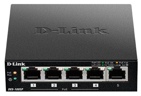 D-Link DES-1005P/B1A Неуправляемый коммутатор с 5 портами 10/100Base-TX (1 порт с поддержкой PoE)