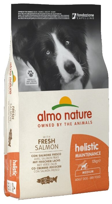 Корм для собак Almo Nature Holistic лосось 12 кг (для средних пород)