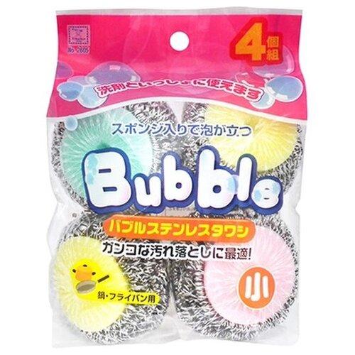 Губка кухонная Kokubo Bubble со стальной спиралью в сеточке 4 шт