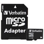 Карта памяти Verbatim microSDHC Class 10 + SD adapter