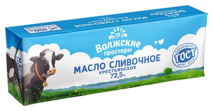 Волжские просторы масло сливочное Крестьянское 72.5%, 400 г