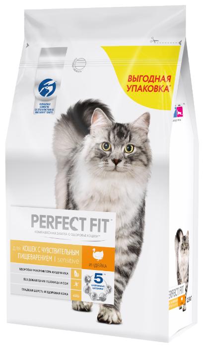 Корм для кошек Perfect Fit при чувствительном пищеварении, с индейкой
