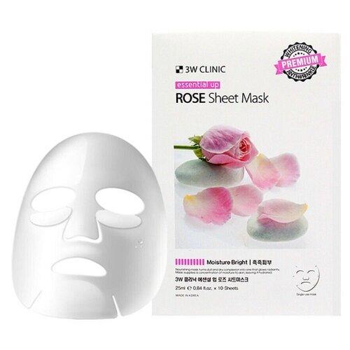 3W Clinic Essential Up Rose маска с экстракт розы увлажняющая, 25 мл, 10 шт. [vk] si15 3w 47r 10
