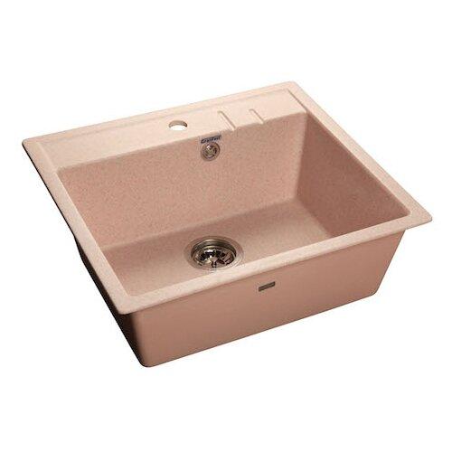 Фото - Врезная кухонная мойка 55.8 см GranFest Quadro GF-Q560 светло-розовый мойка кухонная granfest quadro gf q560 серая из искусственного мрамора с сифоном 55 8х49 8 см