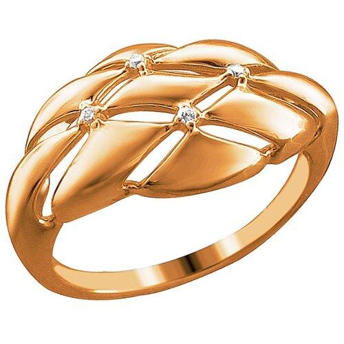 Эстет Кольцо с 4 фианитами из красного золота 01К1113245, размер 18 ЭСТЕТ