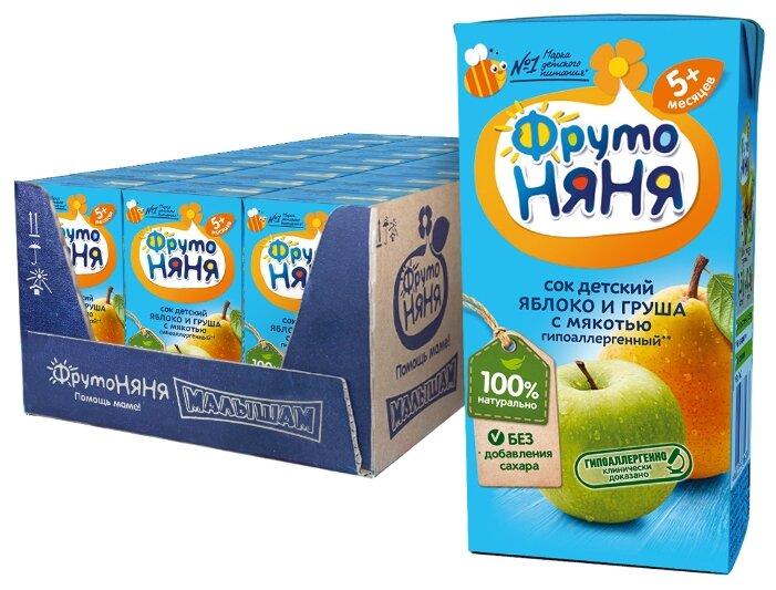 Сок ФрутоНяня из яблок и груш с мякотью, c 5 месяцев (27 шт)