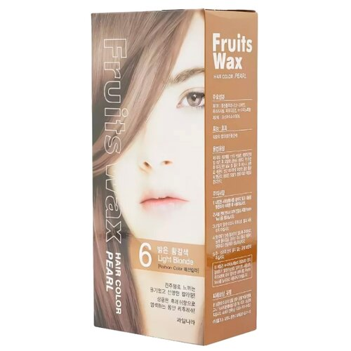 Купить Welcos стойкая крем-краска для волос Fruits Wax Pearl Hair Color, 6 light blonde