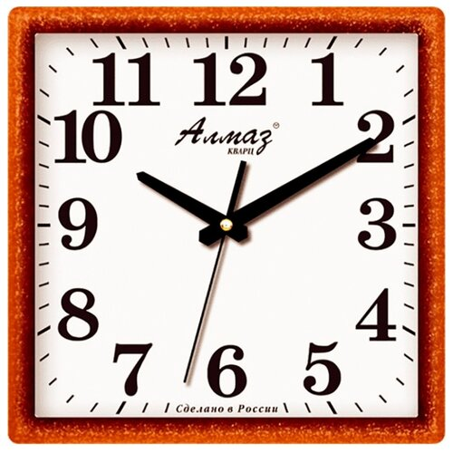 Часы настенные кварцевые Алмаз K45 коричневый/белый часы настенные кварцевые алмаз c51 c54 коричневый белый