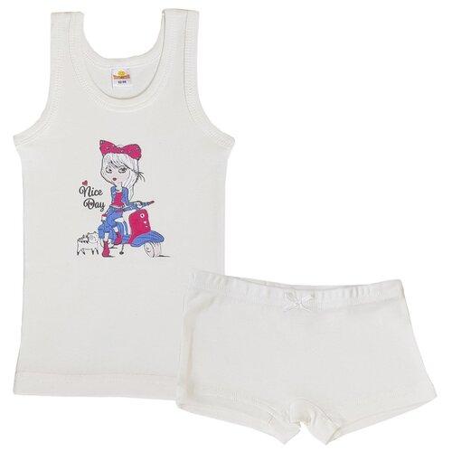 Комплект нижнего белья Папитто размер 92-98, экрю комплект нижнего белья ibala размер 30 92 98 белый розовый красный