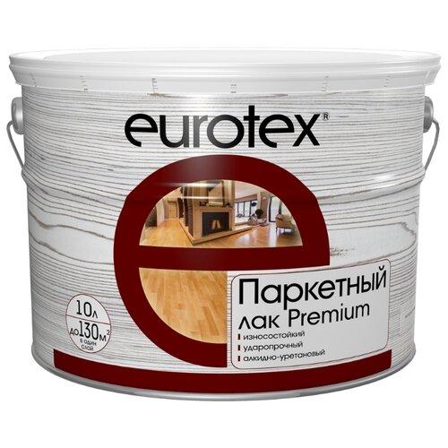 Лак EUROTEX Premium полуматовый алкидно-уретановый бесцветный 10 л бита eurotex 031514 150 002