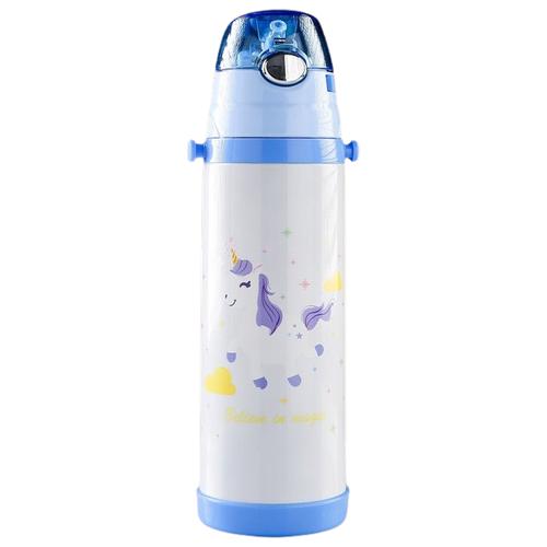 Классический термос TUNDRA Мой Единорожка, 0.5 л белый/голубой
