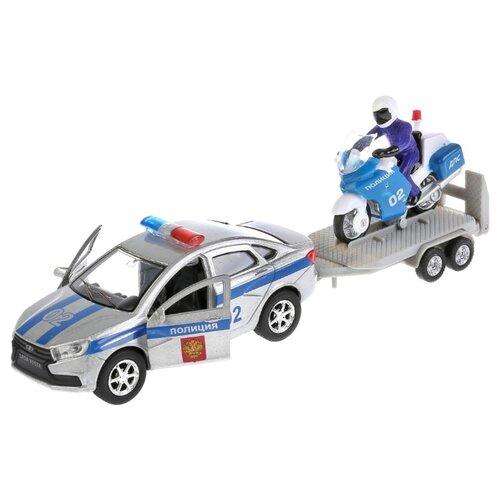 Купить Набор техники ТЕХНОПАРК Lada Vesta Полиция + мотоцикл на прицепе (SB-17-56WB) 26 см серебристый/серый/белый, Машинки и техника