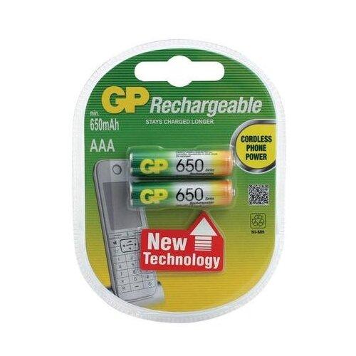 Батарейки аккумуляторные GP, AAA, Ni-Mh, 650 mAh, комплект 2 шт., в блистере, 65АAАНС-UC2 gp аккумуляторы 950 mah gp 95aaahc uc2 aaa 2 шт