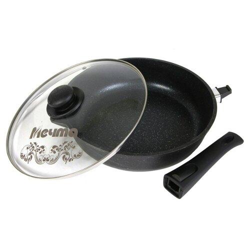 Сковорода Мечта Гранит С024 24 см с крышкой, съемная ручка, гранит