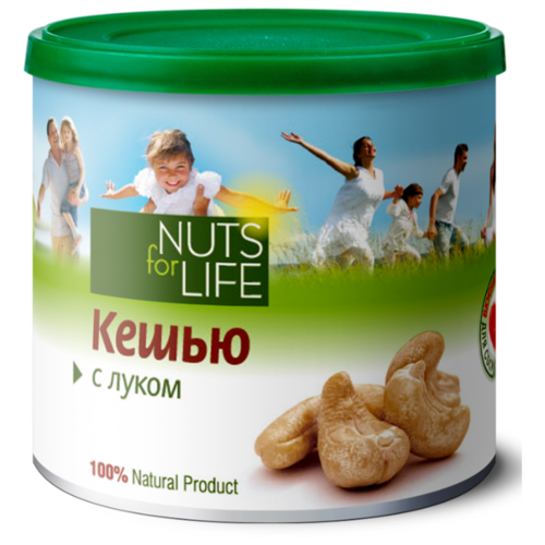 Кешью Nuts for Life обжаренный соленый с луком 115 г nuts for life арахис в сахарной глазури с соком натуральной клюквы 115 г