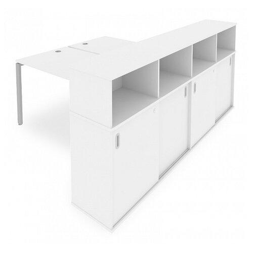 Стол офисный Рива Metal System Б.РС-СШК-4.3 белый/серый