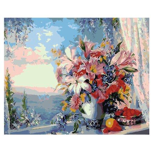 Купить ВанГогВоМне Картина по номерам Лилии на окне , 40х50 см (ZX 20722), Картины по номерам и контурам