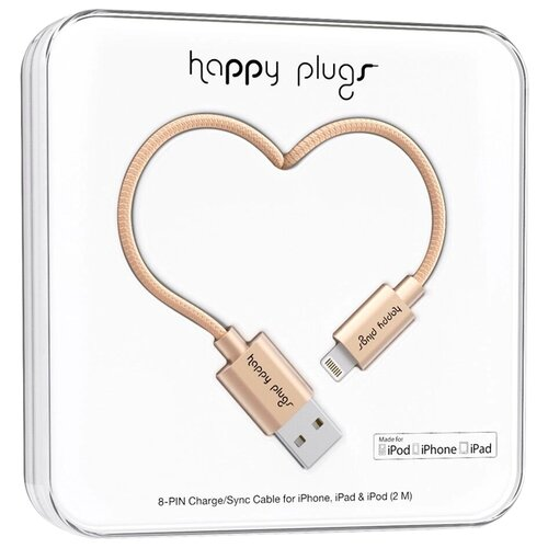 Кабель Happy Plugs Lightning to USB Charge/Sync MFI 2 м matte gold qumo lightning usb mfi rose gold кабель 1 м