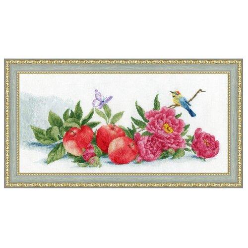 Купить Золотое Руно Набор для вышивания нитками и бисером Яблоки и пионы 15, 5 х 39 см (ОЛ-013), Наборы для вышивания