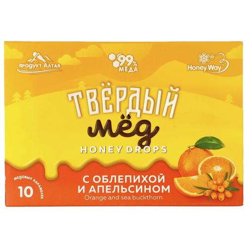 Карамель медовая Твёрдый мёд с облепихой и апельсином 10 шт. дикий мёд