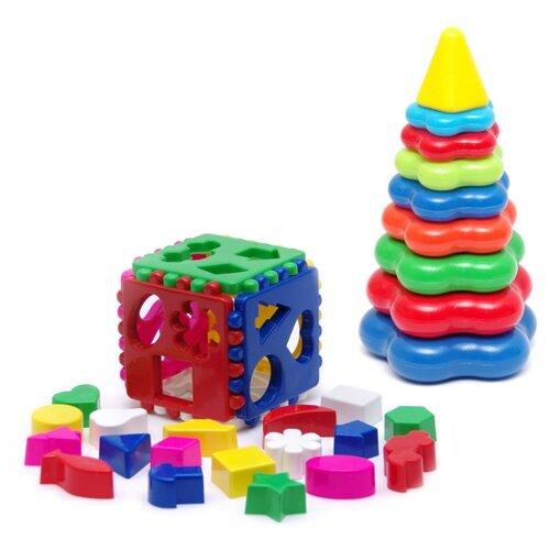 Купить Набор развивающий Игрушка Кубик логический большой 40-0010 + Пирамида детская большая 40-0045, Karolina toys, Сортеры