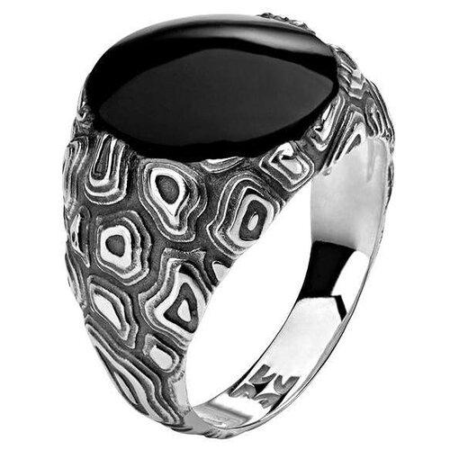 Эстет Кольцо с 1 агатом из серебра 01К459642Ч-1, размер 19.5