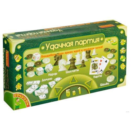 Набор настольных игр BONDIBON Домино, нарды, шашки, шахматы, карты ВВ0683 набор настольных игр haleyan шахматы нарды резные c араратом 40 с ручкой