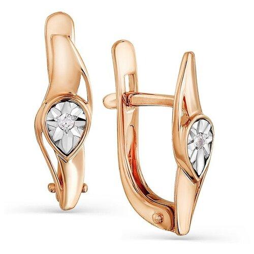 Мастер Бриллиант Серьги с 2 бриллиантами из красного золота 2-107-543