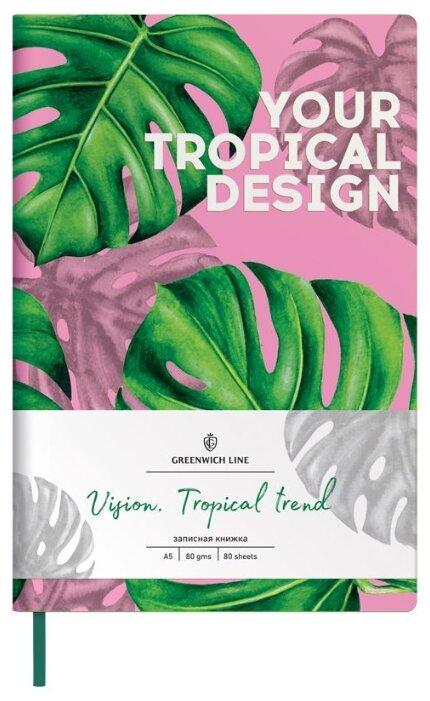 Записная книжка Greenwich Line Vision. Tropical trend, искусственная кожа, А5, 80 листов