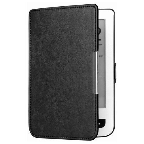 Чехол-обложка футляр MyPads для PocketBook 624 Basic Touch / PocketBook 614 Basic 2 / PocketBook 615 из качественной эко-кожи тонкий с магнитной застежкой черный