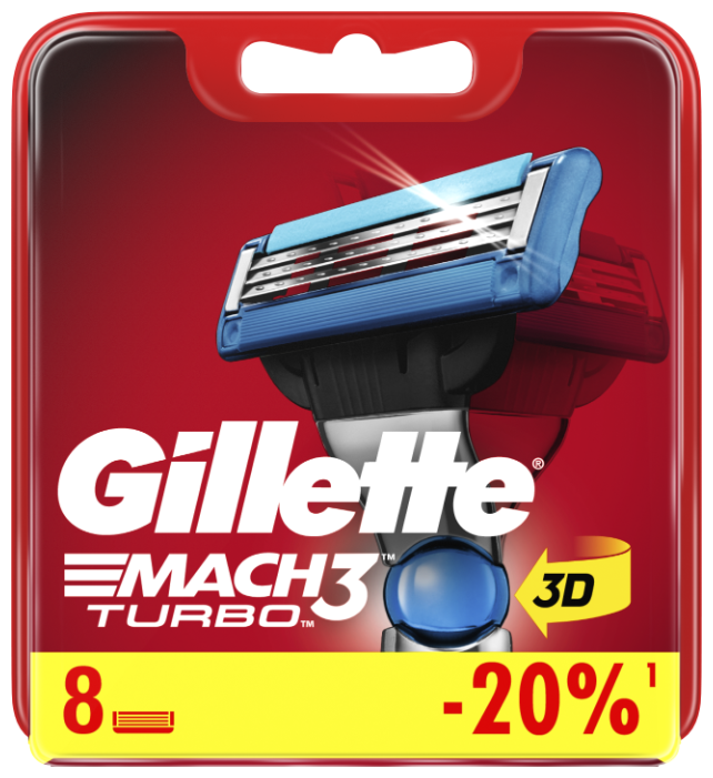 Купить Сменные кассеты Gillette Mach3 Turbo, 8 шт. по низкой цене с доставкой из Яндекс.Маркета (бывший Беру)