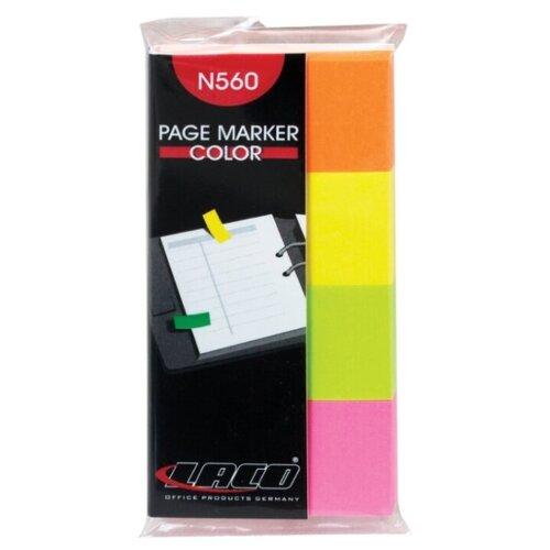 Купить LACO Закладки самоклеящиеся неон 20х40 мм 4 цвета по 50 листов (N 560) желтый/розовый/зеленый, Бумага для заметок