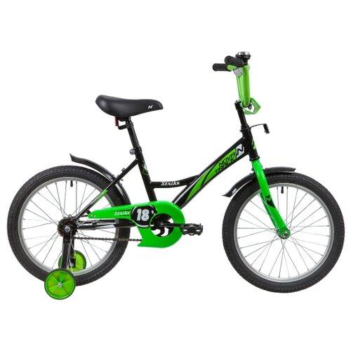 цена на Детский велосипед Novatrack Strike 18 (2020) черный/зеленый (требует финальной сборки)
