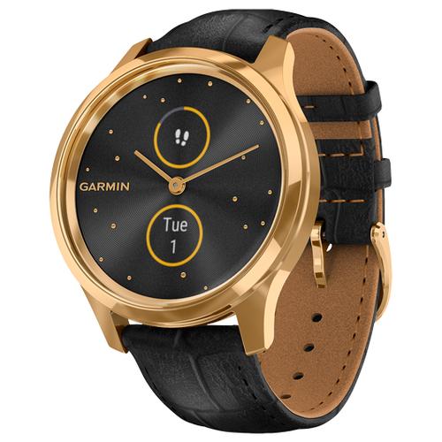 Купить Умные часы Garmin Vivomove Luxe с кожаным ремешком черный/золотистый