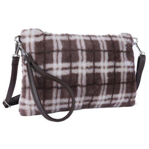 Сумка кросс-боди OrsOro, искусственный мех, клетка коричнево-бежевая сумка тоут orsoro cw 967