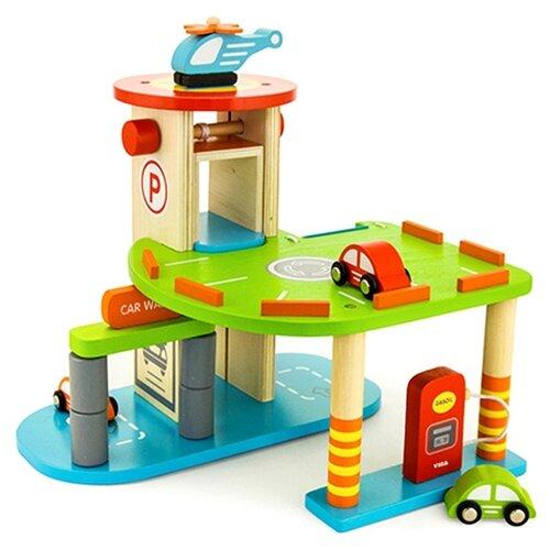 Купить Viga Гараж 59963VG красный/зеленый/голубой/желтый/оранжевый, Детские парковки и гаражи