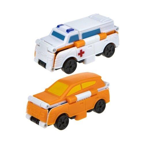 Машинка 1 TOY Transcar Double 2 в 1: Скорая помощь/Кроссовер (Т18288) 8 см белый/оранжевый, Машинки и техника  - купить со скидкой