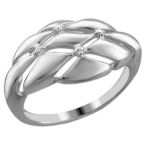 Эстет Кольцо с 4 фианитами из серебра 01К1513245, размер 17 ЭСТЕТ