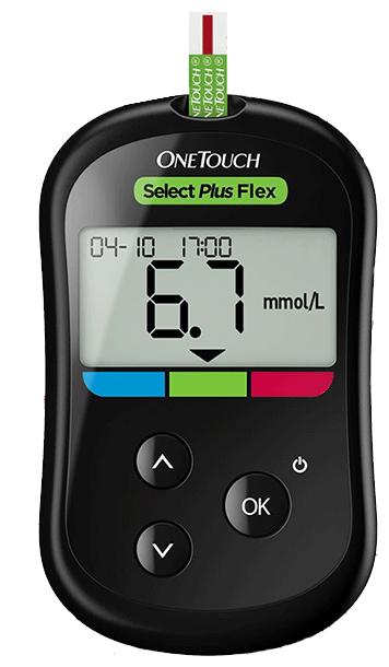 Глюкометр OneTouch Select® Plus Flex (+ 10 тест-полосок, 10 ланцетов)