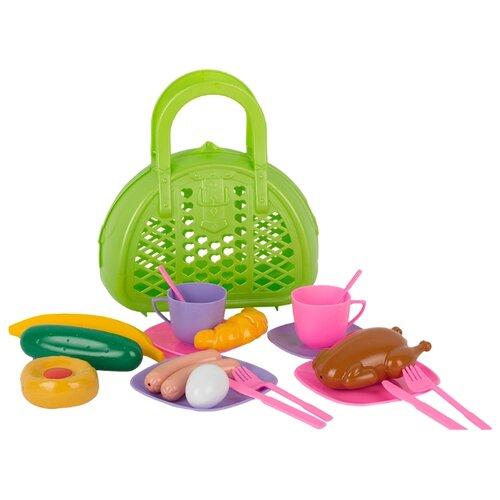 Купить Набор продуктов с посудой СТРОМ Завтрак путешественника У571 салатовый/розовый/сиреневый, Игрушечная еда и посуда