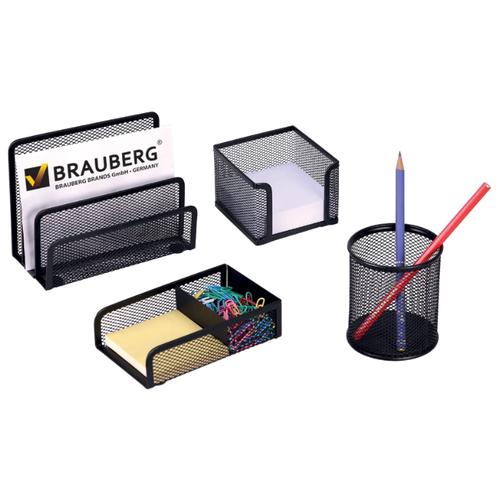 Купить Канцелярский набор BRAUBERG Germanium (231964/231965), 4 пр., черный, Офисные наборы