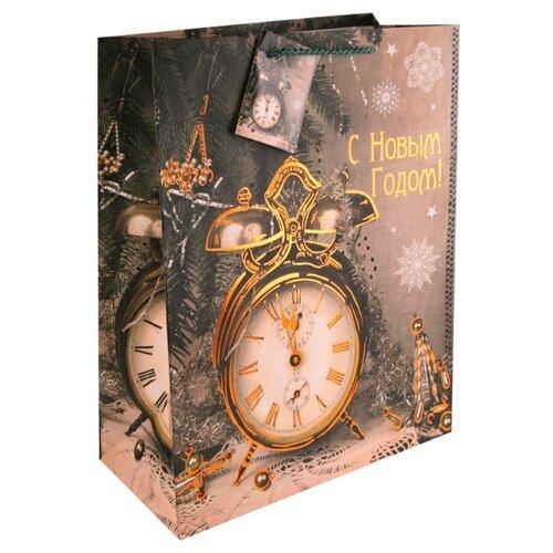 Пакет подарочный Феникс Present Часы-ретро 22.9 х 17.8 х 9.8 см коричневый пакет подарочный феникс презент дед мороз в санях 17 8 х 22 9 х 9 8 см