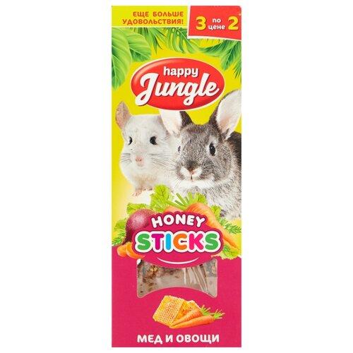 Лакомство для кроликов, грызунов Happy Jungle Honey sticks Мед и овощи