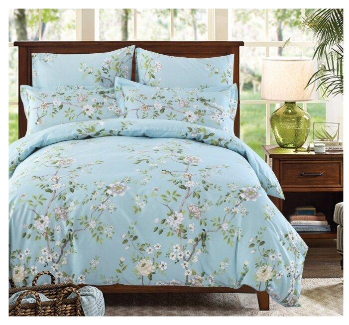 Постельное белье 1.5-спальное СайлиД A-175, поплин голубой