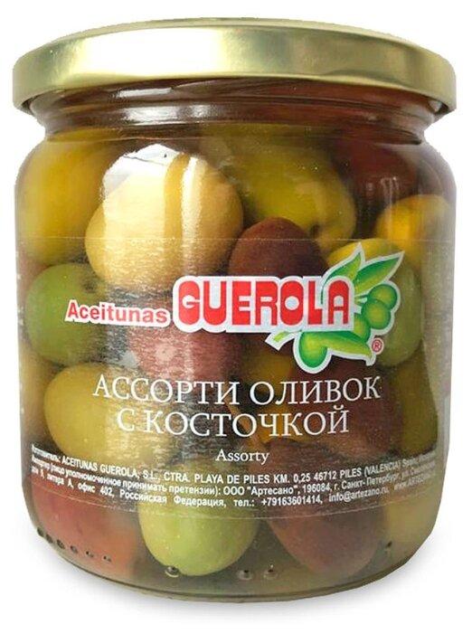 Guerola Ассорти оливок с косточкой в рассоле, стеклянная банка 340 г