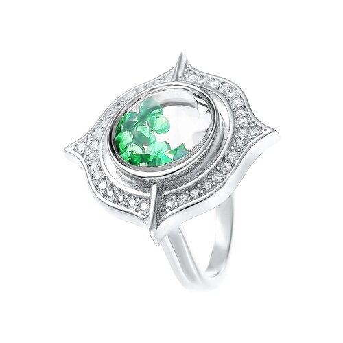 ELEMENT47 Кольцо из серебра 925 пробы с кубическим цирконием и ювелирным стеклом A094_KO_CRYST_003_WG, размер 17.5