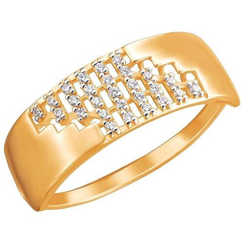 Эстет Кольцо с 27 фианитами из красного золота 01К1112444Р, размер 19