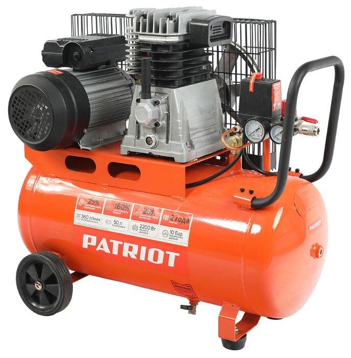 Купить Компрессор масляный PATRIOT PTR 50-360I, 50 л, 2.2 кВт по низкой цене с доставкой из Яндекс.Маркета (бывший Беру)