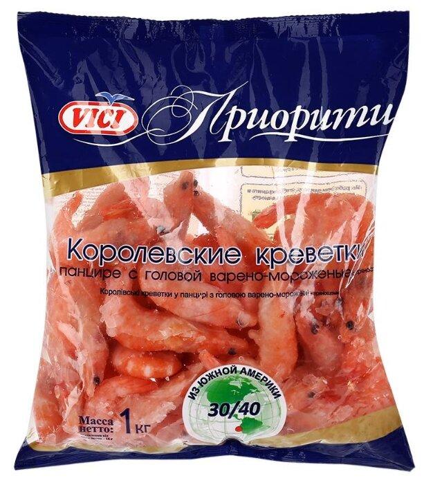 Vici Королевские креветки варено-мороженые Приорити в панцире с головой 30/40 1000 г